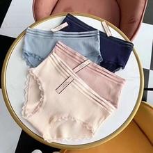 2019 1 Set/ 4 Pcs Solid Colors Underwear Women Panties Lace Fashionable Pretty Briefs for Waist