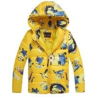 WENDYWU Chłopców ubrania minion despicable me 2 Kolorów watowe kurtka dziecko odzieży wierzchniej płaszcze Z Kapturem kreskówki baby boy ubrania dla dzieci W Dół