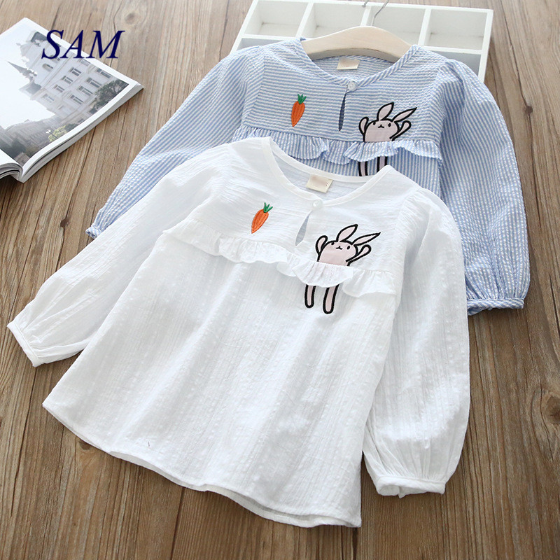 Shirt Tops Girls Baby Autumn Kids Cartoon Children's Long-Sleeved New Cute And Lace Spring
