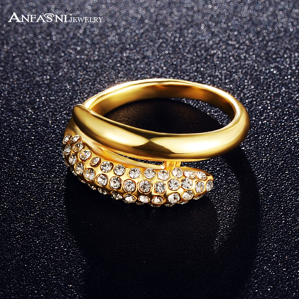 ANFASNI Stylish Girl Rings Golden Color Finger Ring Made With ...