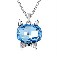 GAGAFEEL Fashion Australian Crystal Cat Necklaces Pendants For Women Female Lovely Bowknot Cat Charm Romantic Gift