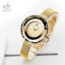 Shengke موضة السيدات الفاخرة ساعة بريزم الوجه الذهب شبكة معدنية كوارتز المرأة الساعات العلامة التجارية الأعلى ساعة Relogio Feminino