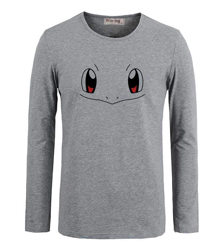 Summer Fashion Cotton T shirts Cartoon Pokemon Squirtle Face Art Printed Long Sleeves T-Shirt Men Boy Graphic Tee Tops T shirt