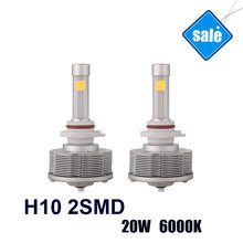 H10 LED Auto Fog Lamps Source Light Car Bulbs Easy Install H10 2SMD Factory Sale Brightest 20W 6000K 2400LM white Lights