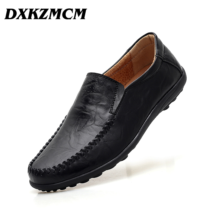 DXKZMCM Mens Shoes Casual Luxury Men Loafers Genuine Leather Moccasins Breathable Slip On Boat Shoes 2017 brand mens loafers moccasins slip on breathable charm men shoes casual fashion round toe brown men flats leather boat shoes