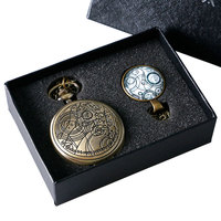 Retro Steampunk Doctor Who Pattern Quartz Pocket Watch With Necklace Pendant Men Women Gift Set Box