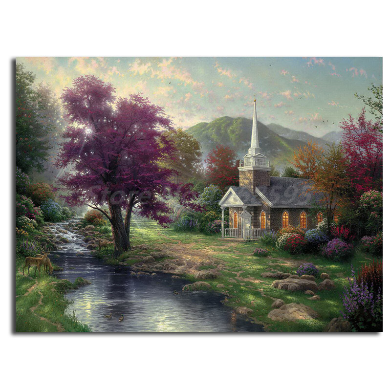 Thomas kinkade streams of living water canvas painting - Home interiors thomas kinkade prints ...