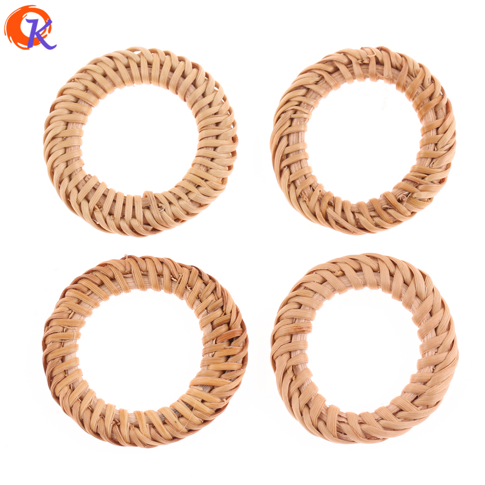 Cordial Design 20Pcs/Bag 40mm Jewelry Findings/Hand Made/Embellishment/Hollow Ring Shape/Bamboo Rattan/Earring Accessories