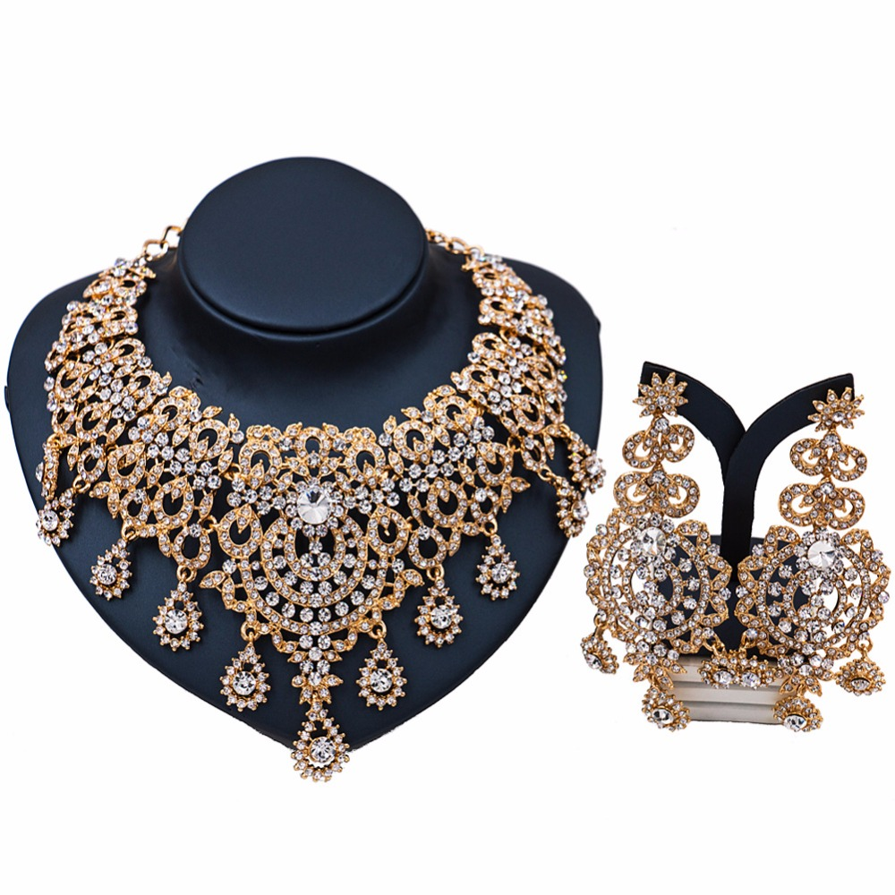Retro African Statement Jewellery Sets Gold Color Necklace Earrings Set For  Women Bridal Wedding Party Gift Prom Accessories
