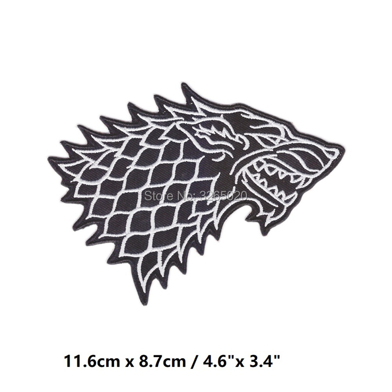 4 6 Game of Thrones Stark Direwolf Embroidered Emblem applique iron on patch halloween cosplay costume