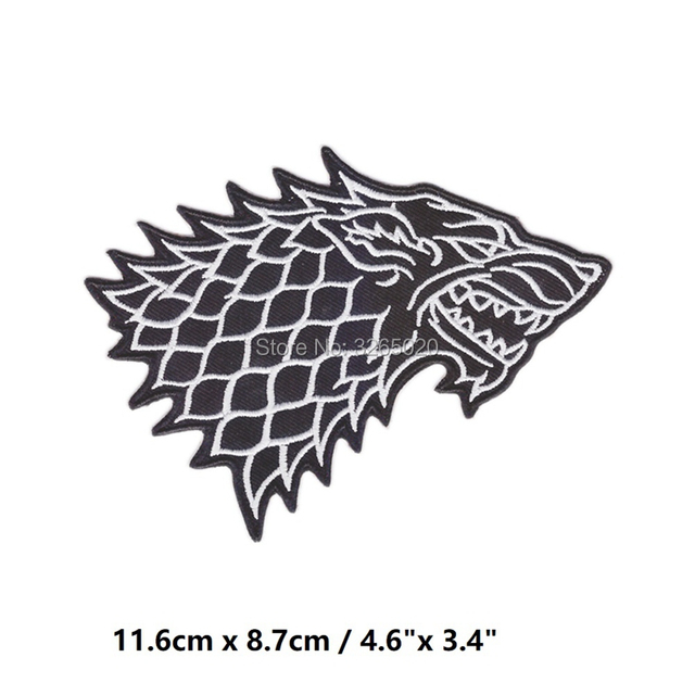 Game of thrones house stark direwolf sigil logo embroidered patch.