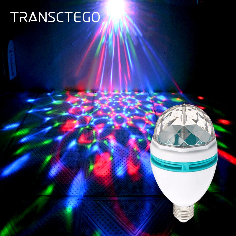 LED Disco Light Bulb E27 Rotating Strobe Bulbs Multi Changing Color Crystal Stage Party Lights Disco Lamp for Party Bar Lumiere