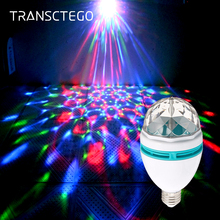 цена LED Disco Light Bulb E27 Rotating Strobe Bulbs Multi Changing Color Crystal Stage Party Lights Disco Lamp for Party Bar Lumiere онлайн в 2017 году