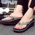2017 Summer Simple Hembra Cuñas Zapatillas Flip Flop Sandalias de Playa Zapatos de Las Sandalias Ocasionales de Moda de Las Mujeres