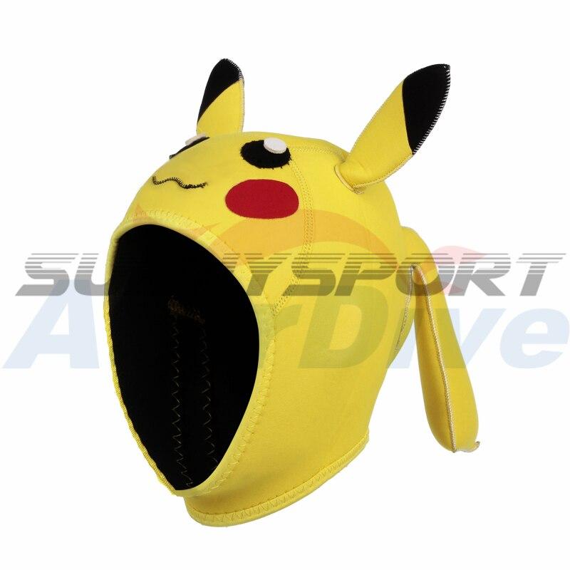 Pikachu sprzęt do nurkowania 4mm cute cartoon nurkowanie hap obu płci termiczny ciepłe pływanie cap w Czepki pływackie od Sport i rozrywka na AliExpress - 11.11_Double 11Singles' Day 1