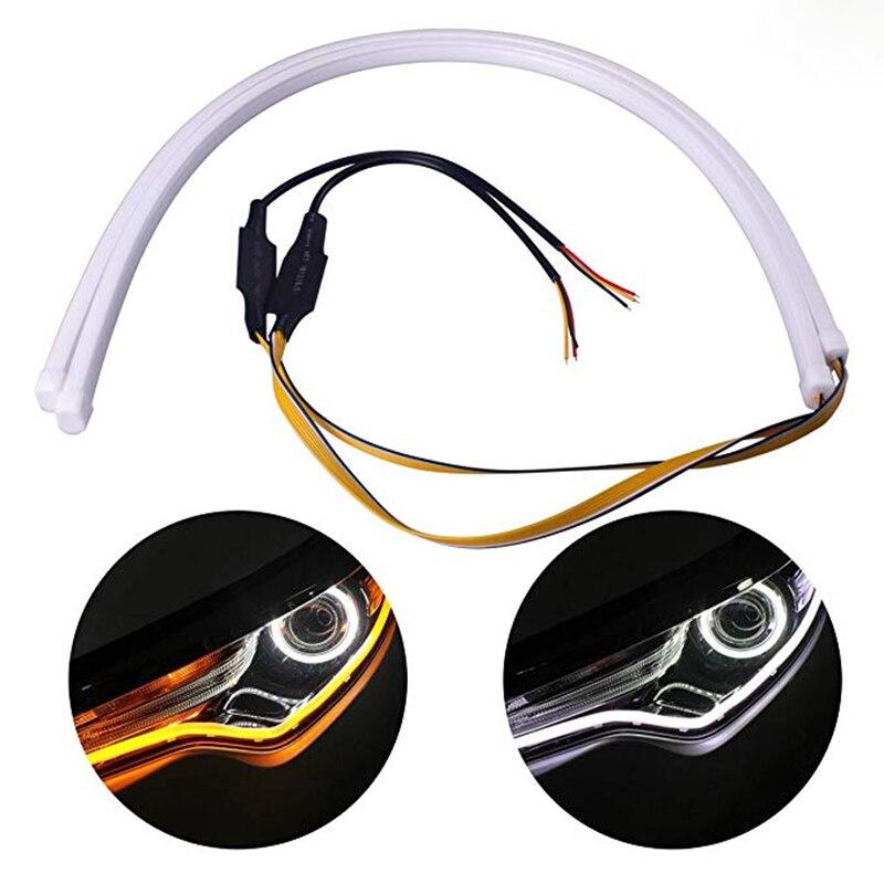 2pcs 30cm Dual Color WhiteAmber LED Strip Tube Flexible Daytime Running Lights DRL Switchback Flowing Turn Signal Light (6)