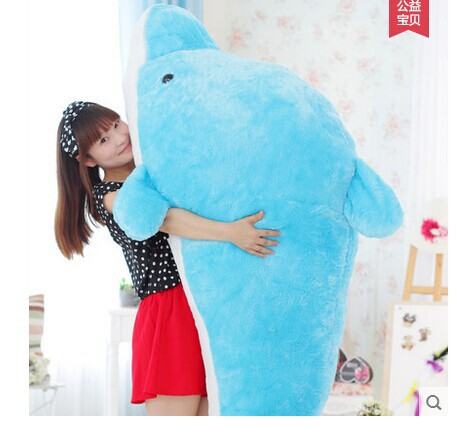 huge 200cm stuffed Dolphin plush Toy,throw pillow , Christmas Gift w9614 lovely plush toy the dolphin toy stuffed dolphin pillow huge birthday gift toy about 200cm dolpin