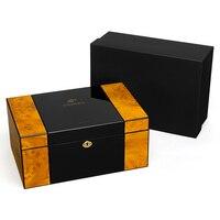 Под Сигар портативный увлажняющая коробка Постоянная Влажность увлажненный pine кубинский портсигар комплект для хранения
