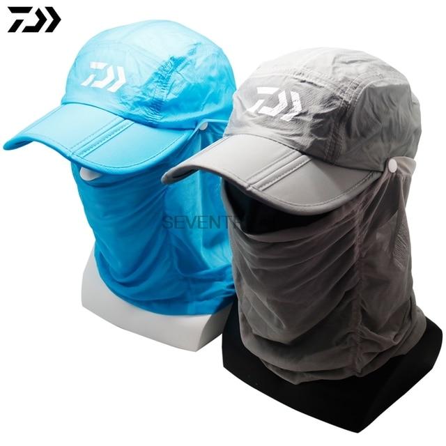 Brand Daiwa Dawa Gray Blue Fishing Hat Outdoor Sport Hiking Visor Hat UV  Protection Face Neck Cover Fishing Sun Protcet Cap 28116ef0151
