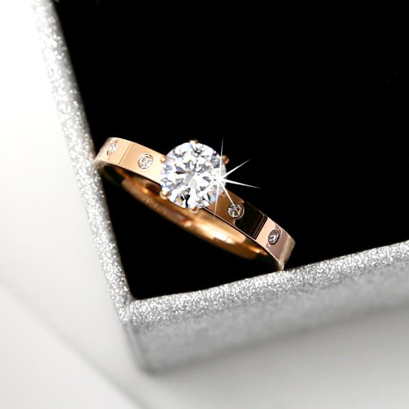 Модное обручальное кольцо YUN RUO с цирконом в 1 карат, двойная Роза, стандартный подарок на день рождения вечерние велирные изделия из титанов...