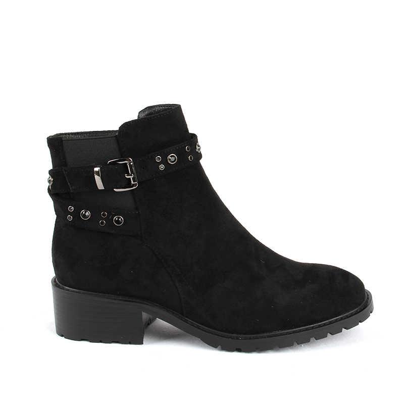 2019 г. Новые Модные осенние ботинки на Высоком толстом каблуке с ремешком и пряжкой ботинки martin женские черные ботильоны для женщин