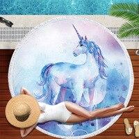 Dropshipping women Towels Bathroom Horse Beach Towel Cute Unicorn Microfiber Large Round Toalla Microfibra Thick Terry Cloth