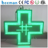 Leeman 3D Effect Outdoor LED Pharmacy Cross Sign Led Pharmacy Cross Panel Display Time Date Text