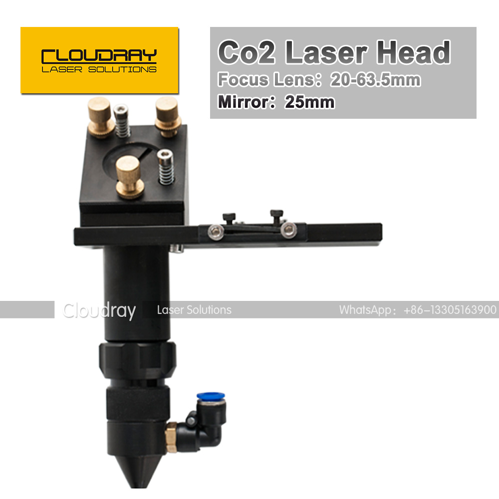 ФОТО CO2 Laser Head 63.5mm Focal Focus Lens 20mm Reflective Mirror 25mm Integrative Mount Laser Engraving and Cutting Machine