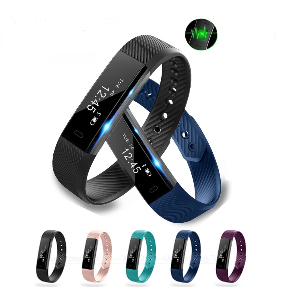 Smart Band ID115 HR Bluetooth Wristband Heart Rate Monitor Fitness Tracker Pedometer ID115 Smart Bracelet For