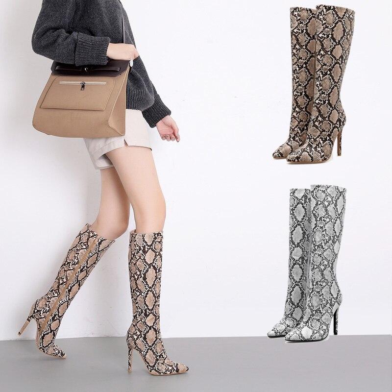Haute Femmes Cm Printemps 10 Serpentine Marron Bottes Casual Serpent Plus Longue 5 Mince Imprimer Chaussures argent Genou Lady 40 Femme Talons 2019 Taille rdCoeWBx