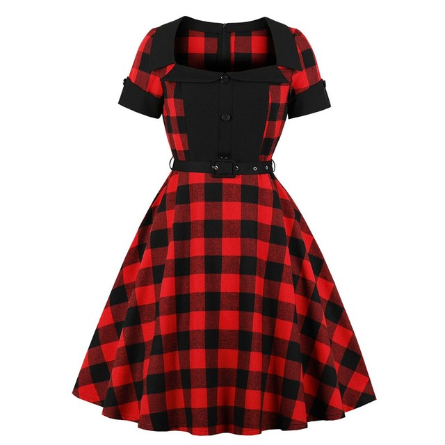 Cheap Sale Sisjuly Party Vintage Gothic Red Black Plaid Dress Women ...