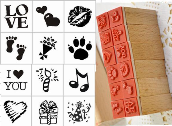 Cartoon Children Lovely Mini Wooden Stamp Box DIY Diary Stamp 12pcs/set  4designs At Your Choice Free Shipping free shipping 1 set 4pcs included wooden stamp with iron box package good time series 6 style available page 10