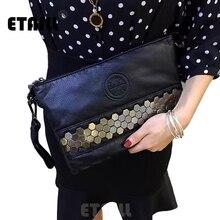 Рок-жеребец, американская мода, стильная женская панк вечерняя сумка с заклепками, женская черная настоящая коровья кожа, заклепки, клатч, Сумочка с заклепками, Evnelope