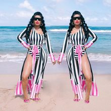 New 2 Piece Set Women Fashion Long Sleeve Multi Print Jumpsuit Cloak+Sexy Rompers Printed One Shoulder Swimsuit Swimwear Bikins(China)