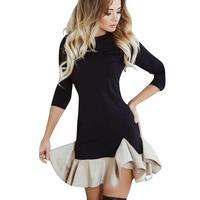 Spring Ruffles Dress Brief Style Ruffles Patchwork Three Quarter Sleeve Casual Mini Dress Round Neck Elegant
