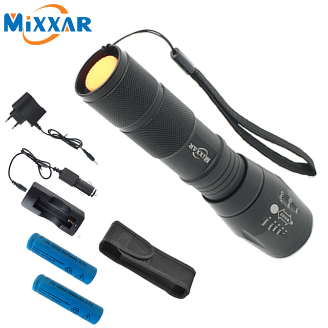 ZK10 CREE XML-T6 Flashlight 4000LM 5 Mode Zoomable LED Flashlight Lamp Light LED Tactical Torch Lantern With Charger Battery