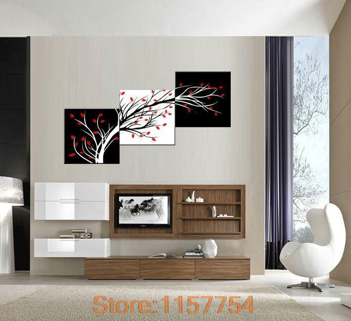 3 panel Money tree Modern Wall Art Black and white decorative ...