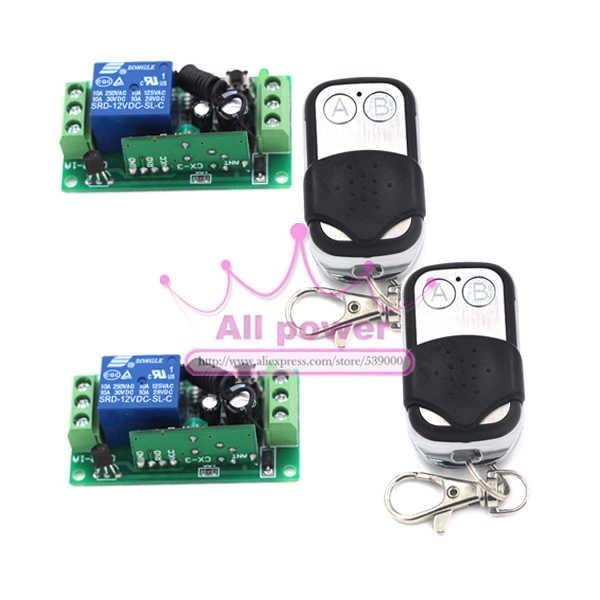 DC12V 10A relais 1CH sans fil RF télécommande commutateur 2 transmetteur + 2 unité récepteur