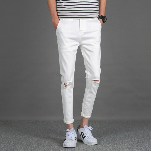 5877693bd875 2017 Summer Style White Jeans Men Pants Ripped Knee Hole Skinny Jeans Male  Ankle Length Slim