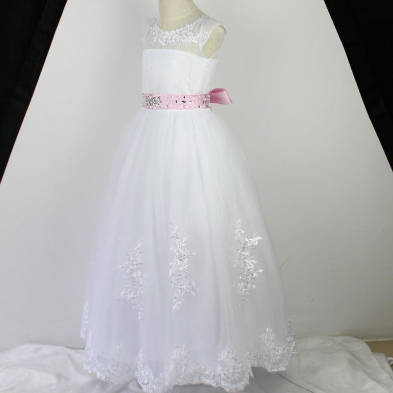 Gorgeous Open Back Flower Girl Dresses Vintage Jewel Sash Lace Girl ...