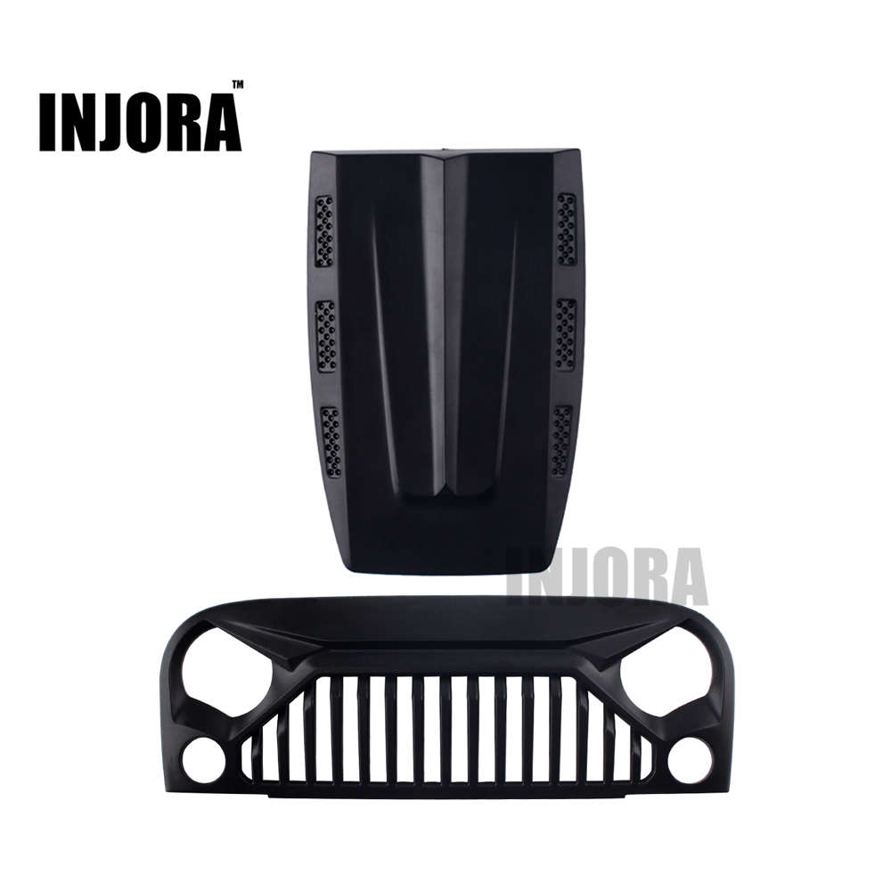 INJORA Black Air Inlet Grille Front Face & Engine Hood for 1/10 RC Rock Crawler Axial SCX10 RC4WD D90 Jeep Wrangler Rubicon injora 2pcs 90mm metal shock absorber for 1 10 rc crawler axial scx10 rc4wd d90 tamiya cc01
