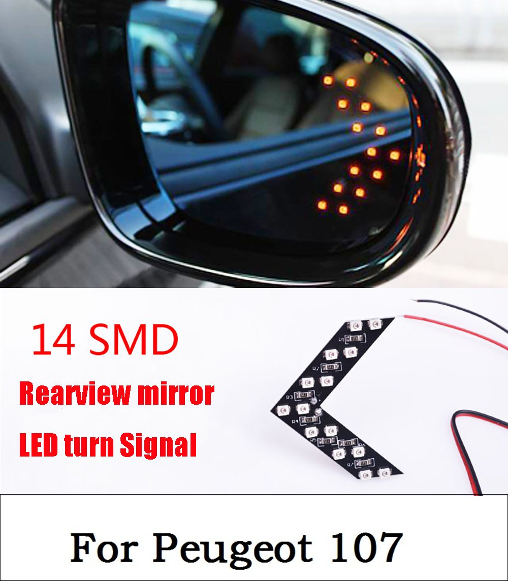 New 2017 2 Pcs 14 SMD LED Arrow Panel For Car Rear View Mirror Indicator Turn Signal Light car light lamp For Peugeot 107 1pcs universal car amber arrow panel yellow 14 smd led car side mirror rear view indicator turn signal light lamp
