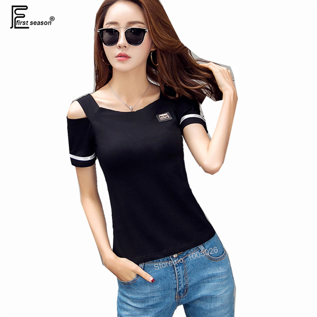 f867e0bbc8d7c Summer T-Shirts Hot Sales Women Korea Style Short Sleeve 2018 Design Open  Shoulder Tops Red Black White Slim Fit Casual T Shirt