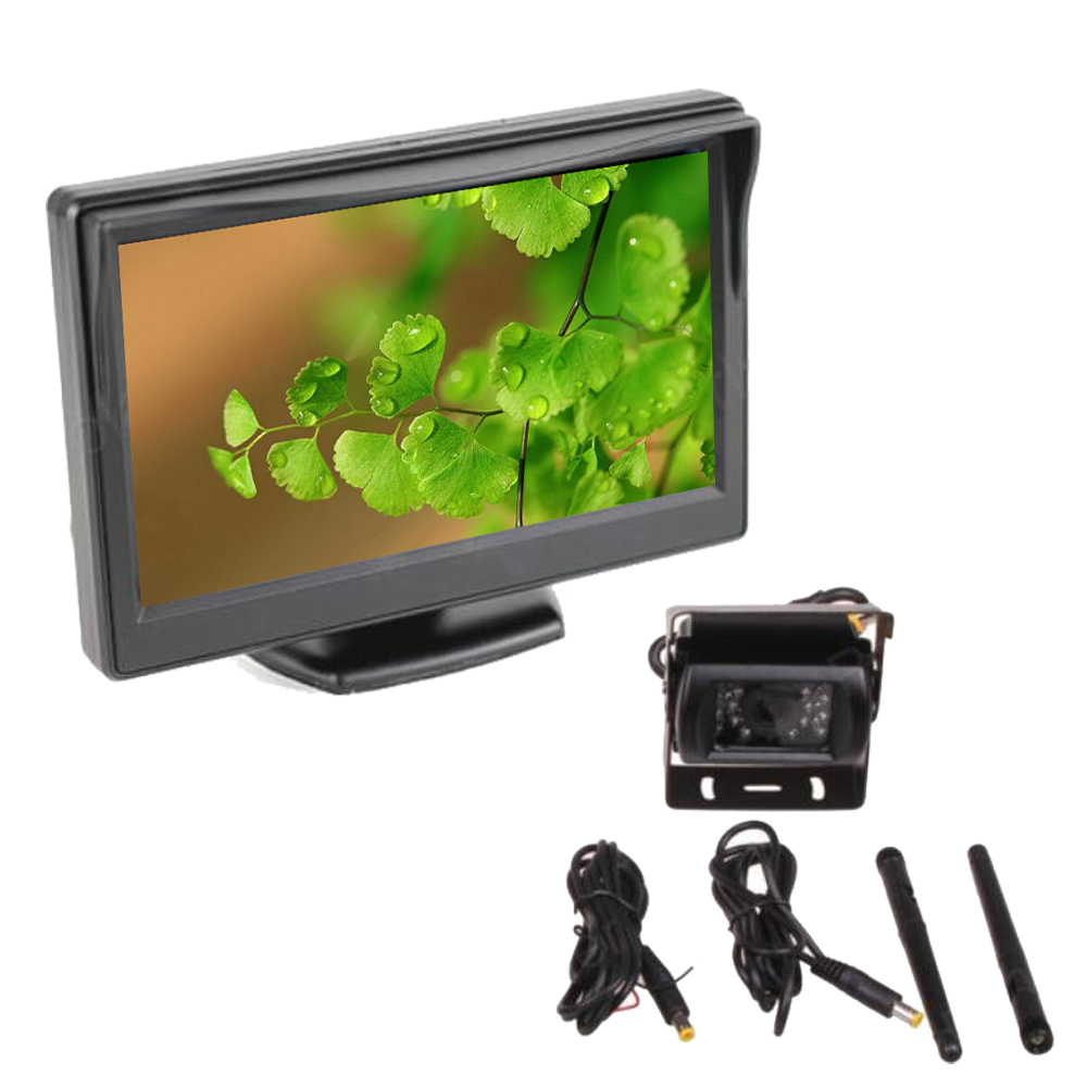 5 inch TFT LCD Wireless Monitor for 12 24V Car Truck with night vision Rear View Camera 2CH Video Input Built in Transmitter 4 3 inch display tft color lcd monitor cctv camera monitor 2 av input 1 way for rear view