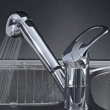 DSHA New Hot Single Handle Low Arc Pull Out Kitchen Sink Faucet with Two Spray Model, Chrome