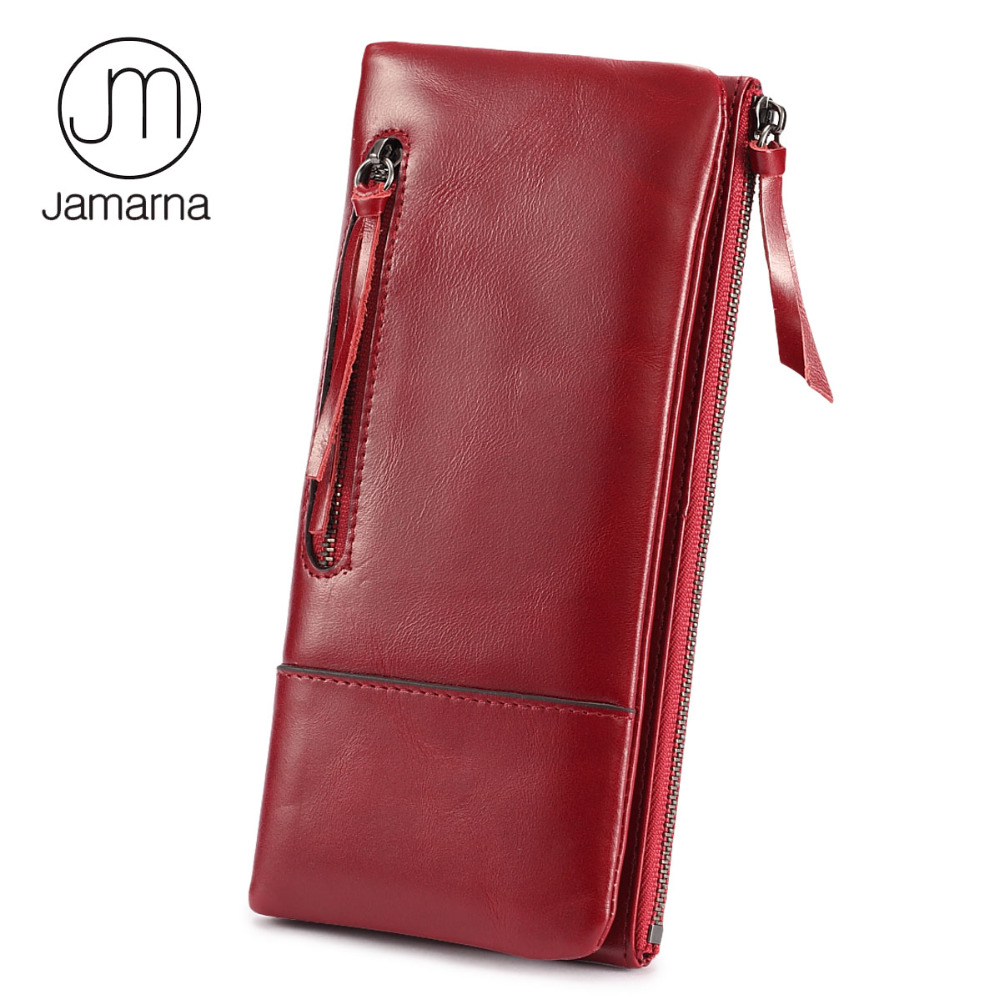 Jamarna Genuine Leather Women Wallets Oil Wax Female Coin Purse Card Holder Double Zipper Phone Wallet Female Free Shipping Red baellerry double zipper women business card holder wallet oil wax leather purse female name bank credit cards driver license bag