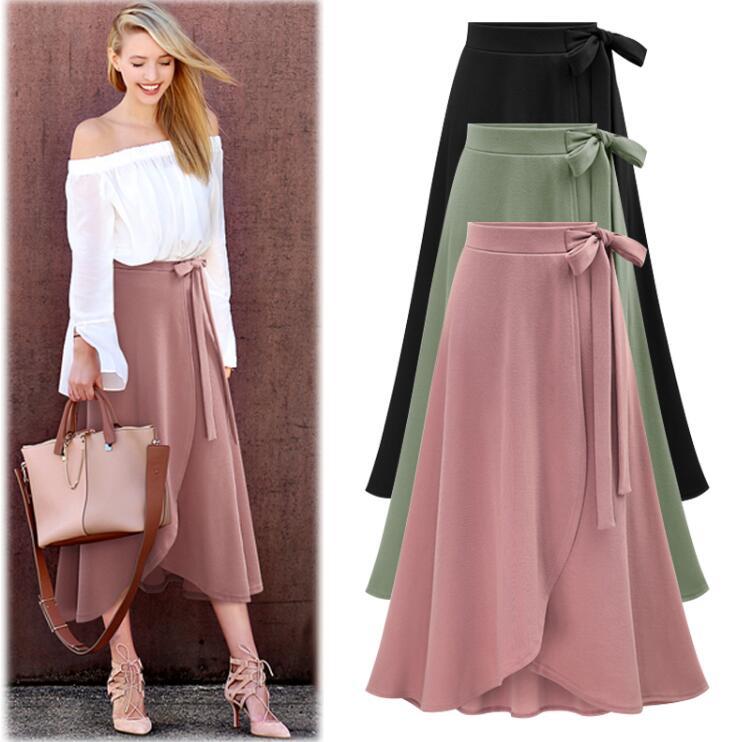 Falda Cintura Larga Negro Alta Pink Moda S Lápiz Elegante Mujeres Irregular verde negro Tamaño Casual 2018 Femenino 6xl A Más Womens line FqXIw57wx