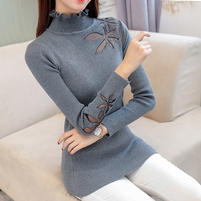 Tops wine Winter Sleeve Black Autumn Female Women Long 2019 And Pullovers Knitted Red Tricot gray Sweaters Sweater Lace Jumper qBT4nx6F