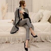 New Elegant Autumn Winter Women Plaid Woolen Pant Suits 2018 Fashion Double Breasted Coat And Pencil Pant Blazer Sets
