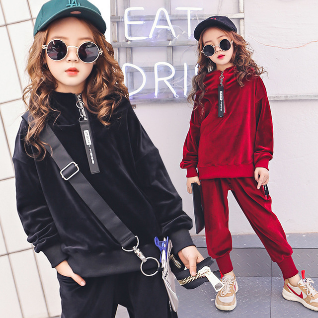 ce1ff6d36 Teenage Girls Clothing Sets 6 14Y Spring New 2018 Girls Long Sleeve ...